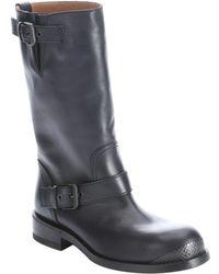 Bottega Veneta Dark Prusse Leather Double Buckle Moto Boots - Lyst