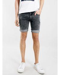 LAC - Bk Acid Wash Spray On Skinny Denim Shorts - Lyst