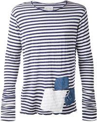 Greg Lauren Striped Patchwork T-Shirt - Lyst