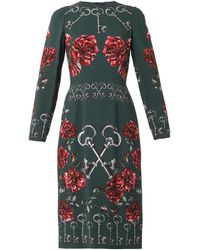 Dolce & Gabbana Key and Floralprint Crepe Dress - Lyst
