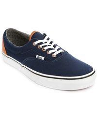 Vans Navy Heel Canvas Leather Era Sneakers - Lyst