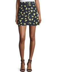 Piamita - Lemon-print Button-front Skirt - Lyst