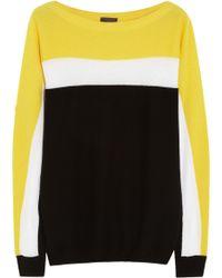Fendi Paneled Cashmere-blend Sweater brown - Lyst