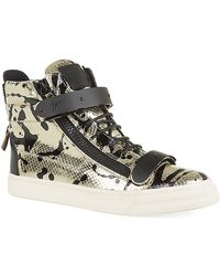 Giuseppe Zanotti Paint Splash Python High-Top Sneaker - Lyst