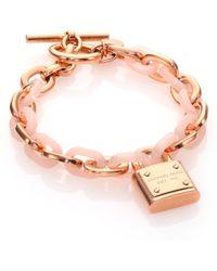Michael Kors Rose & Blush Padlock Chain Bracelet - Lyst