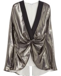 Vionnet Gathered Metallic Silk-blend Top - Lyst