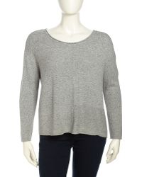 Eileen Fisher Long Sleeve Speckled Cable Knit Sweater Dark Pearl Womens - Lyst