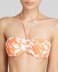 Shoshanna Pliage Cinch Bandeau Bikini Top orange - Lyst