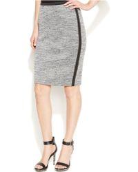 Calvin Klein Contrast-Trim Knit Pencil Skirt - Lyst
