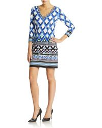 Eliza J Printed Shift Dress blue - Lyst