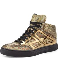 Alejandro Ingelmo Iridescent Leopard Print High-Top Sneaker gold - Lyst
