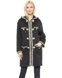 Moschino Embroidered Coat - Black - Lyst