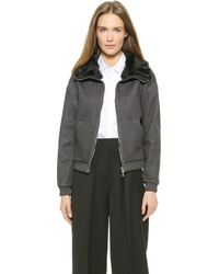 3.1 Phillip Lim Rabbit Fur Collar Jacket - Charcoal - Lyst