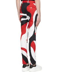 Alexander McQueen White Abstract Slim Trousers - Lyst