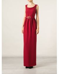 Gucci Red Belted Dress - Lyst