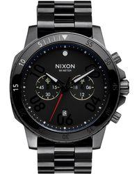 Nixon Ranger Black Ip Stainless Steel Chronograph Bracelet Watch black - Lyst