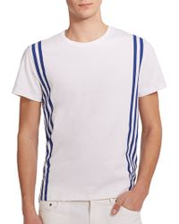 Maison Kitsuné Side-Stripe Cotton T-Shirt - Lyst