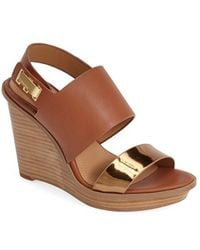 Calvin Klein 'Perdita' Platform Wedge Leather Sandal - Lyst