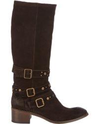 Barneys New York Studded-Strap Knee Boots - Lyst