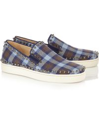 Christian Louboutin Pik Boat Studded Plaid Flannel Sneakers - Lyst