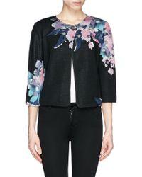 St. John Floral Print Jacquard Knit Jacket - Lyst