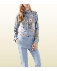 Gucci Flora Knight Print Silk Straight Shirt - Lyst