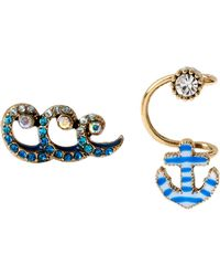 Betsey Johnson Ship Shape Anchor Cuff And Wave Stud Earrings - Lyst