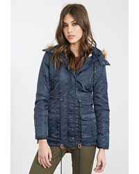 Forever 21 Faux Shearling Parka - Lyst