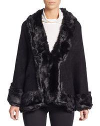 Cara - Faux Fur-trimmed Cape - Lyst