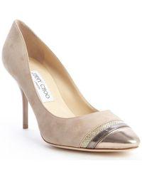 Jimmy Choo Nude And Gold Suede 'Liana' Leather And Glitter Accent Pumps - Lyst