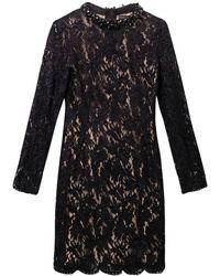 Lanvin Embellishedneckline Velvetlace Dress - Lyst