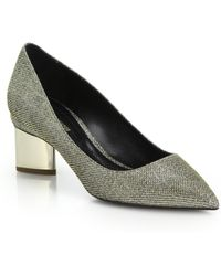 Nicholas Kirkwood Metallic Block-Heeled Lurex Pumps - Lyst