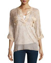 Diane Von Furstenberg Danielle Long-Sleeve Metallic-Print Crepe Shirt - Lyst