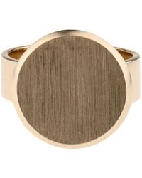 DINA KAMAL DK01 - Beige-Gold Flat-Coin Pinky Ring - Lyst