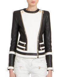 Balmain Bicolor Leather Moto Jacket - Lyst