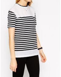 Asos Top In Stripe With Woven Panels - Lyst