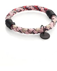 Bottega Veneta Intrecciato Mottled Leather Bracelet multicolor - Lyst
