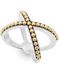 Lagos | 18k Green Gold And Sterling Silver Enso Caviar X Ring | Lyst