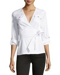 Diane Von Furstenberg 34-sleeve Wrap Blouse - Lyst
