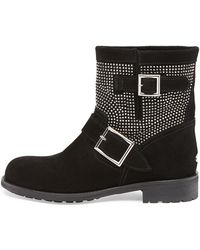 Jimmy Choo Youth Studded Suede Biker Boot - Lyst