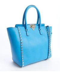 Valentino Ocean Blue Leather Rockstud Studded Detail Small Convertible Top Handle Tote - Lyst