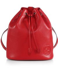 Gucci Soho Leather Drawstring Backpack - Lyst