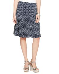 Lauren by Ralph Lauren Petite Printed Fit-And-Flare Skirt - Lyst