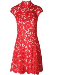 Lover Warrior Lace Mini Dress Rose red - Lyst