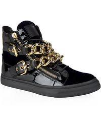 Giuseppe Zanotti Velvet and Leather Chain Strap Sneakers - Lyst