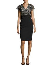 Catherine Deane Lace Top Jersey Dress black - Lyst
