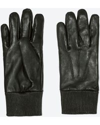 Zara Leather Cuff Leather Gloves - Lyst