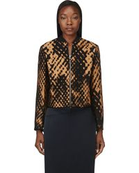 3.1 Phillip Lim Bronze and Black Jacquard Cropped Bomber - Lyst