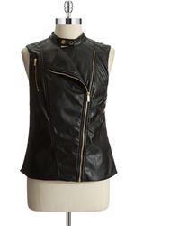 Calvin Klein Faux Leather Moto Vest - Lyst