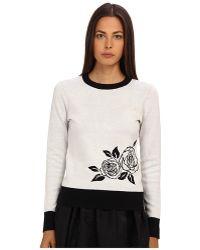 Kate Spade Rose Intarsia Sweater - Lyst